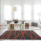 The Rug House Helsinki moderner, grau-orangener, flauschiger Shaggy-Wohnzimmerteppich mit geometrischem Zick-Zack-Linien-Muster 160cm x 230cm (5'3