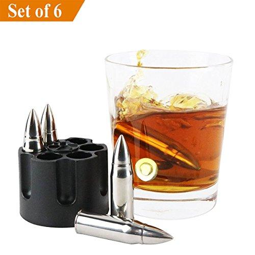Careshine Whiskey Stones Wiederverwendbare Chilling Bullet Shaped Eisstein, Set von 6 Food-Grade Edelstahl Chillers mit Freezer Base für Whisky und andere Getränke (Food Grade Edelstahl)