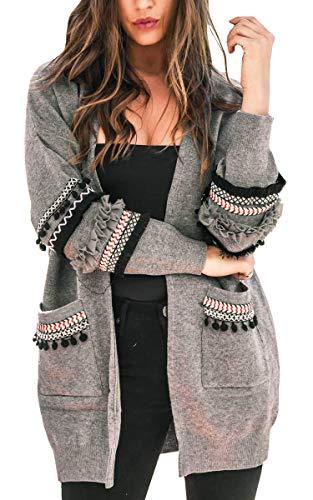 ECOWISH Damen Lang Strickjacke Casual Langarm Cardigan Boho Patchwork Outwear Lose Coat mit Taschen Grau M