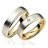 2 x 333 Gold Eheringe Partnerringe Trauringe Hochzeitsringe in Gelbgold und Weißgold *mit Gravur und Steinen* C043