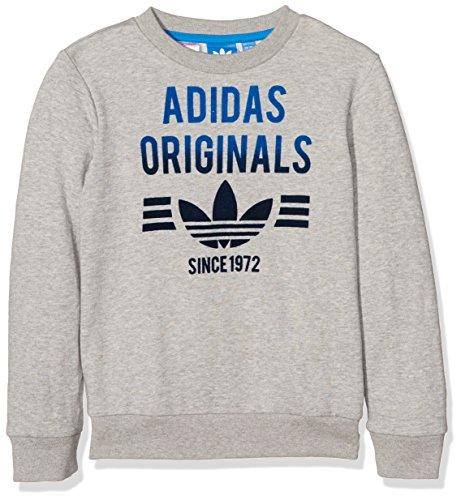 adidas Jungen Fleece Crew Sweatshirt Medium Grey Heather/Bluebird