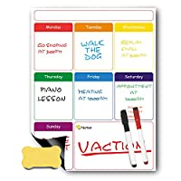 Magnetic Weekly Planner with Magnetic Dry Erase Marker Pens and Eraser by Aloonii