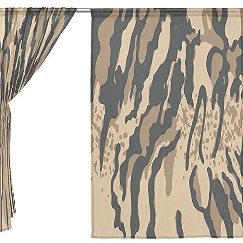 jstel Lot de 2voile rideau fenêtre, Leopard Grain Vintage, en tulle Transparent Rideau Drapé Lit 139,7x 198,1cm deux panneaux de, Polyester, bleu, 55x78x2(in)