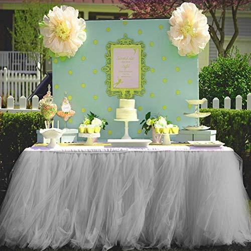 Tutu Tulle Coiffeuse Jupe de Table Coiffeuse pour fête prénatale Mariage Anniversaire Décoration de Maison (gris)