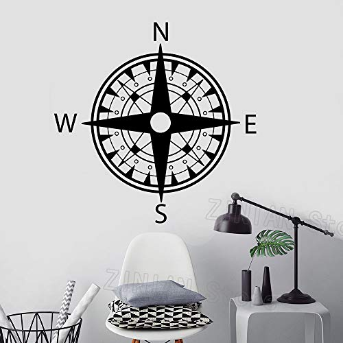guijiumai Kompass Aufkleber Nautical Boys Room Decor Vinyl Wandaufkleber Für Kinderzimmer Schlafzimmer Dekoration Aufkleber Muraux Tapete rot 42X42 cm