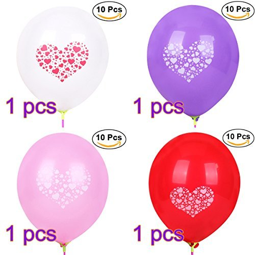 NUOLUX 40pcs 12-inch Round Latex Balloons Love Heart Printed Balloon for Party Decoration 32g Balloons