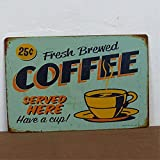 RETRO METAL WALL SIGN TIN PLAQUE VINTAGE SHABBY CHIC COFFEE KITCHEN LOUNGE BAR LIFE SIZE 20X30 CM