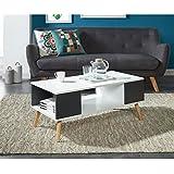 BABETTE Table basse 90x45 cm - Blanc et gris foncé