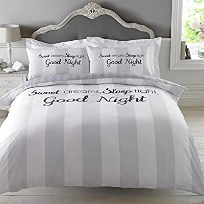 "Dreamscene ""Sweet Dreams"" Duvet Cover Bedding Set with Pillowcase, Grey, Double - cheap UK light store."