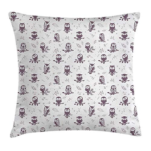 Owl Throw Pillow Cushion Cover, Cartoon Style Illustration of Cute Owls on The Branches Mysterious Woods Print, Decorative Square Accent Pillow Case, 18 X 18 Inches, Eggplant White -