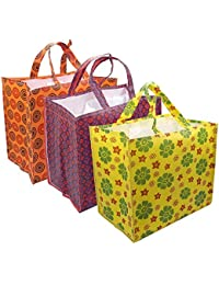 3 Pcs Grocery Bag - Eco Friendly Printed Non-Woven Vegetable Bag With Multi Pocket