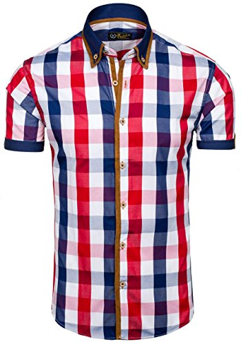 BOLF Herren Hemd Casual Kurzarm Shirt Slim Fit Freizeithemd Men 2B2 Motiv MIX Rot_5507-1