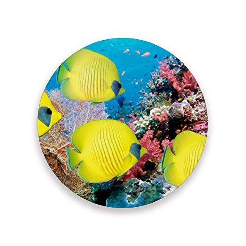 Lupinz Unterwasser-Untersetzer mit gelben Fischen, isoliert, flexibel, langlebig, rutschfest, feuchtigkeitsabsorbierend, mit Korkunterlage, Holz, 1, 1 piece set -