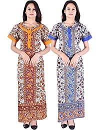 Silver Organisation Women's Cotton Printed Nightdress(Multicolour_Free size) -Pack of 2