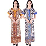 #5: Silver Organisation Women's Cotton Printed Nightdress(Multicolour_Free size) -Pack of 2