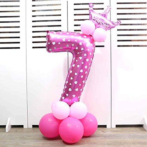 Globos de papel de aluminio con corona para fiesta de cumpleaños. Números 0 al 9 7 rosa
