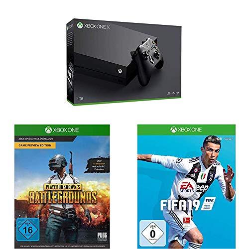 Xbox One X 1TB Konsolen Bundle + Playerunknown's Battlegrounds [Xbox One] + FIFA 19 - Standard Edition [Xbox One]