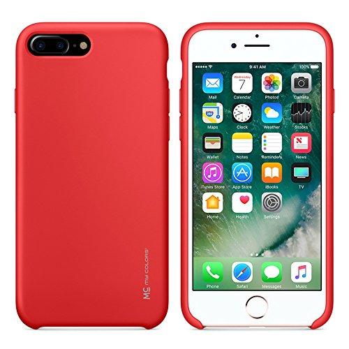 """MOONCASE iPhone 7 Plus/iPhone 8 Plus Hülle, Weich TPU Kratzfest Stoßfest Schutztasche Ultra Slim Schroff Rüstung Handysocken Case für iPhone 7 Plus/iPhone 8 Plus 5.5"""" Black Red"""
