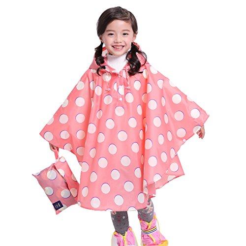 Gagacity Regenponcho Baby Kapuzenmantel Niedliches Drucken Wasserdicht Regenjacke für Jungen und Mädchen Rosa Punkte/S