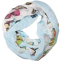 ManuMar Loop-Schal für Damen   feines Hals-Tuch mit Schmetterling-Motiv   Schlauch-Schal - Das ideale Geschenk für Frauen