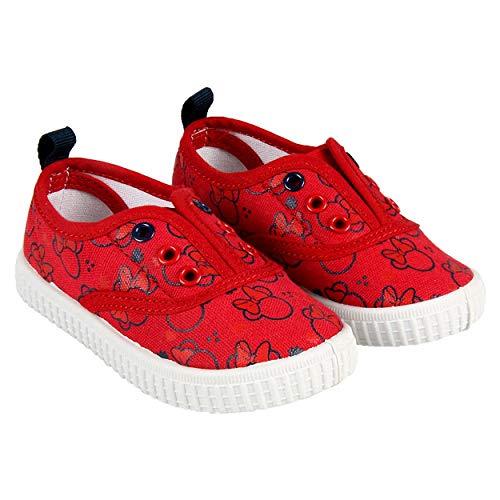 Canvas Minnie Maus Kinder Mädchen Schuhe von Disney | Ohne Saiten | Elastische | Rote | Größen 22 bis 27 (25 EU)