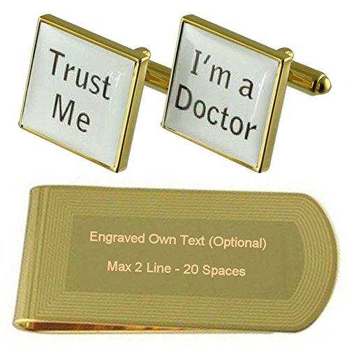 Select Gifts Vertrauen Sie mir, ich bin Arzt NHS Gold-Manschettenknöpfe Geldscheinklammer Gravur Geschenkset