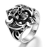 Adisaer Ring Silber Antik Ring Männer Weissgold Punk Schwarz Silber Kreuz mit Schädel Ring Größe 71 (22.6) Retro Bandringring Hip Hop Valentinstag Ring Für Männer