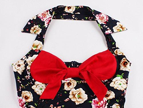 Oriention 1950s Vintage Rockabilly Kleid, Damen Elegant Ärmellos ...