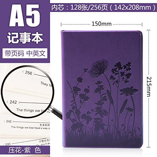 XIAOXINYUAN In Rilievo Dello Spessore Del Notebook Notepad Cancelleria Diario Di Notebook Aziendali A5 Blocco Note. Violetta
