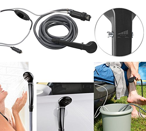 Semptec Urban Survival Technology Campingdusche: Elektrische 12-Volt-Camping-Dusche mit Tauchpumpe, 2,2-m-Schlauch (Campingdusche 12V)