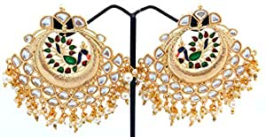 Heavy work golden Peacock earrings with beautiful kundan and jhumka style hangings