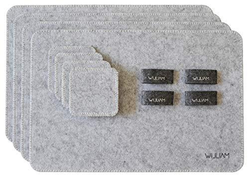 WILLIAM Tischset Tribeca aus Filz | 12 teilig in grau | 4X Platzset, 4X Serviettenringe und 4X Glasuntersetzer | leicht abwaschbar | Elegantes und stylisches Design Tribeca Ring