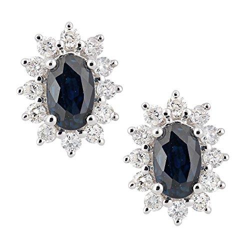 Revoni - 18 Karat Weißgoldohrstecker mit Saphir und Diamant, oval besetzt