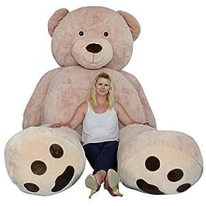 TE-Trend XXL Riesenteddybär gigantischer Riesen Teddy Teddybär liegend sitzend 320 cm in der Farbe hellbraun als Geschenk zur Dekoration Erwachsene Kinder