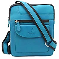 Starhide Mens Womens Turquoise Distressed Hunter Real Leather Cross Body / Shoulder / Travel Messenger bag for Kindle Ipad Tablet #505 (Turquoise)