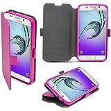 Coque Samsung Galaxy A3 (2016) a Rabat Rose - Housse Étui Fin avec Effet Brillant de Moozy® avec Stand Pliant et Support de Téléphone en Silicone