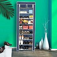 Happer Premium 9-Tiers Shoe Rack/Multipurpose Storage Rack with Dustproof Cover, (Blue)