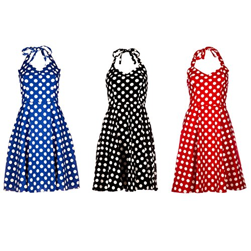 Rockabilly Dress von Emmas Wardrobe 50 er fancy dress Kostüm-Schwarz, rot und blau Polka Dot-UK Größen 36 bis 44 (Rot, 44)