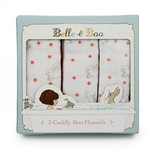Belle and Boo Baby- und Kinder-Waschlappen 3er Set (Flannel) mit Hasen und Sternen