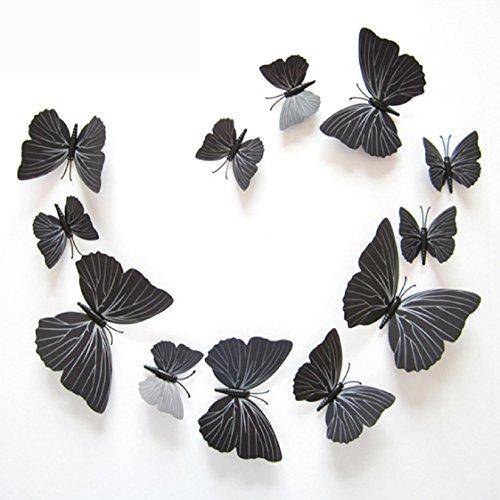 Vovotrade® 12 Pcs 3D Stickers muraux Papillon Aimant pour Décoration Nouveau (Noir5)