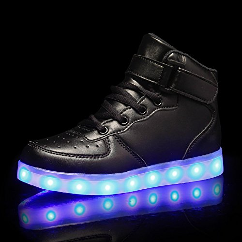 Ke1aip Unisex High Top Led Scarpe Usb 7 Color Sneaker Sneakers Scarpe Sportive Per Unisex Uomo Adulto Nero