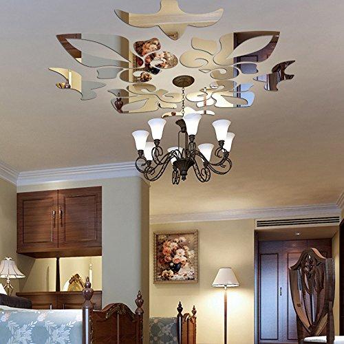 Odjoy-fan creativo astratto stile acrilico adesivi murali 3d specchi da parete a specchio- splendido orologio parete removibile specchio argento murales decal casa soggiorno camera letto decorazione