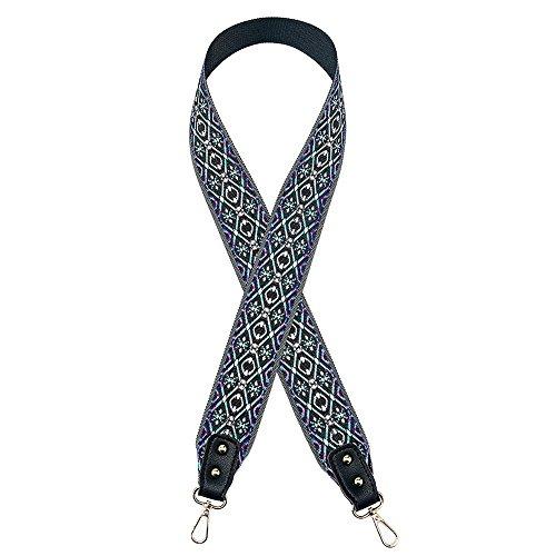 YsinoBear Wide Straps für Taschen Retro Plaid Pattern Gewebte Schultergurt für Handtaschen DIY Zubehör (Schwarz & Blau) (Blaue Zubehör Damen Handtasche)