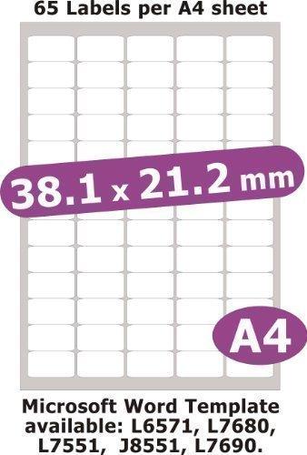 38 X 21 mm, 325 Etiketten, Transparent Glänzend, Für Tintenstrahldrucker, A4, 5 Blatt