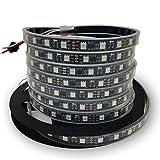 IKSACE DC12V 16.4ft 5M WS2811 1903 Wasserdicht Programmierbare Traumfarbe LED Digital-Streifen 300 LEDs 100ICs Pixel-Saiten 5050 RGB Flexible Bunte Adressierbare LED-Streifen Schwarz 60LEDs/M IP68
