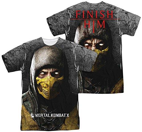LYYJY Mortal Kombat X Fighting Video Game Scorpion Poster Adult 2-Side Print T-Shirt T