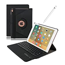Dingrich Ipad Pro 9.7 keyboard Case,Ultra Slim Stand Cover Design PU Leather Case 360 Swivel ipad Protective Case with Detachable Wireless Bluetooth Keyboard Flip Folio Case Cover for ipad pro 9.7 inch(2016 Release Tablet) + Screen Protector + Stylus,Blac