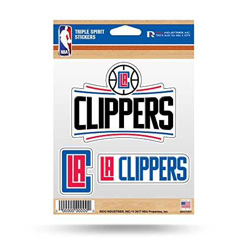 Rico Industries NBA Los Angeles Clippers Die Cut 3-Piece Triple Spirit Sticker Sheet