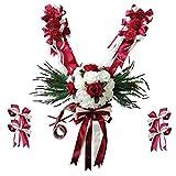 non-brand MagiDeal Kit DE 12 Pièces Fleurs Artificielle en Soie avec Ruban Nœuds Papillon Décoration de Voiture de Mariage - Rouge