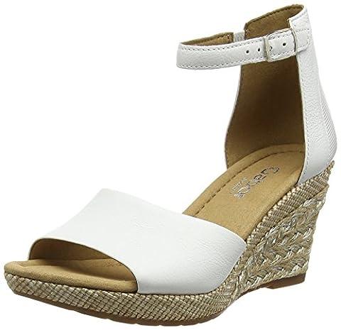 Gabor Moonbeam, Sandales Compensées femme - Blanc - White (White Leather/Shield (Bast), 40.5 EU